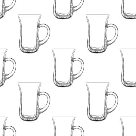 Coffee mug seamless pattern. Hand drawn glassware cup backdrop. Engraving style. Design for fabric, textile print, wrapping paper. Vector illustration Stock fotó - 129818715
