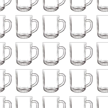 Tea mug seamless pattern. Hand drawn glassware cup wallpaper. Engraving style. Design for fabric, textile print, wrapping paper. Vector illustration Stock fotó - 129818704