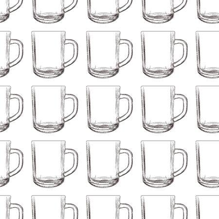 Tea mug seamless pattern. Hand drawn glassware cup wallpaper. Engraving style. Design for fabric, textile print, wrapping paper. Vector illustration Illusztráció