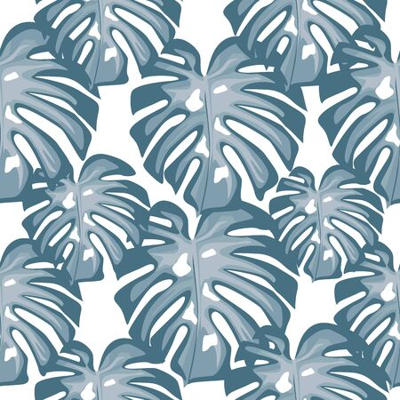 Blue leaves Monstera seamless patern. Tropical wallpaper. Botanical leaf backdrop. Trendy design for fabric, textile print, wrapping paper. Vector illustration