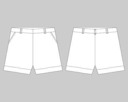 Technical sketch shorts design template. Womens shorts vector illustration on grey background Illusztráció