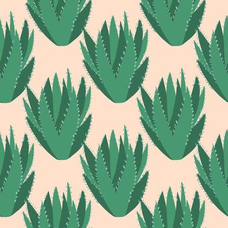Aloe vera cactus seamless pattern. Cacti exotic wallpaper. Endless textile design. Printing, textile, fabric, interior, wrapping paper. Vector illustration
