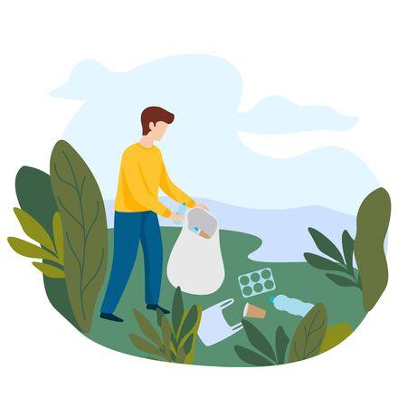 Concepto de limpieza de la naturaleza. Voluntario recogiendo basura. El hombre borra la orilla del río de botellas de basura plástica. Ilustración vectorial plana