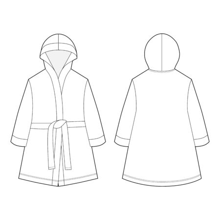 Technical sketch unisex bathrobe isolated on white background. Front and back views. Vector illustration
