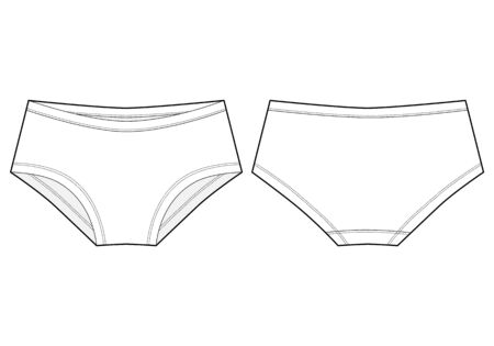 Girls knickers technical sketch. Lady lingerie. Female white underpants.
