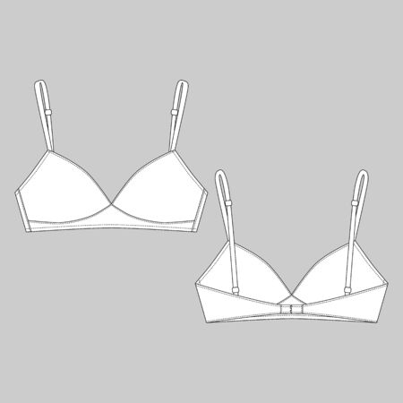 Technical sketch girls bra isolated on gray background. Female white brassiere. Women casual underclothing. Vector illustration