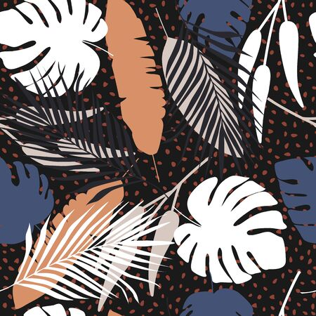 Abstract dark tropical seamless pattern on black background.