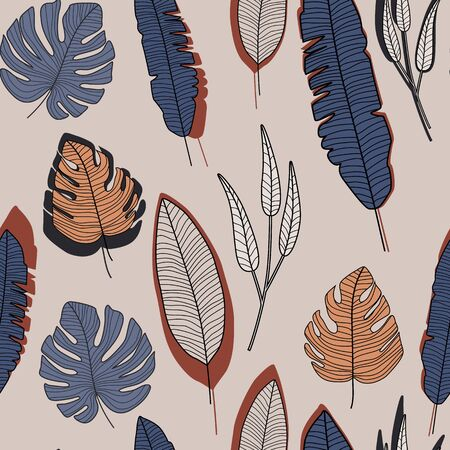 Branch and leaves wallpaper. Abstract forest leaf seamless pattern.