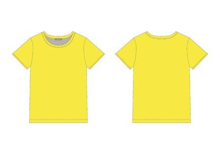 T-shirt technique pour hommes aux couleurs jaunes. Modèle de conception de sous-vêtements unisexe. Illustration vectorielle de t-shirt