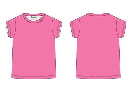 Outline technical sketch children's t shirt in pink colors. Kids t-shirt design template. Front and back vector illustration.
