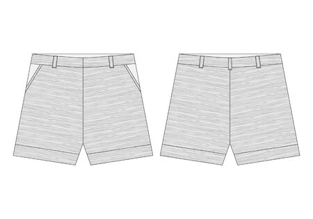 Technical classic shorts pants in melange fabric. Vector illustration