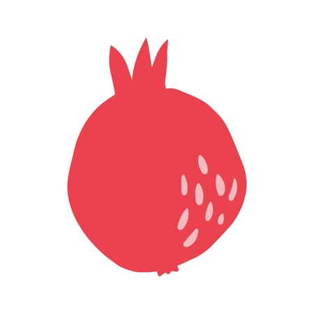 Pomegranate in hand drawn style isolated on white background. Doodle fresh organic summer fruit. Simple cute cartoon design. Vector sketch illustration. Çizim