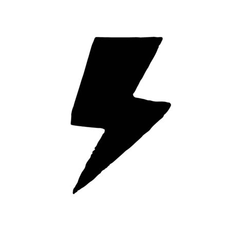 Lightning icon in hand drawn style isolated on white background. Electric bolt flash symbol. Electric power, thunderbolt, lightning strike sign. Vector illustration