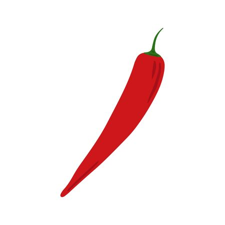 Doodle red chilli isolated on white background. Hand drawn cayenne pepper vegetable. Vegetarian healthy food. Fresh organic ingredient. Vector illustration