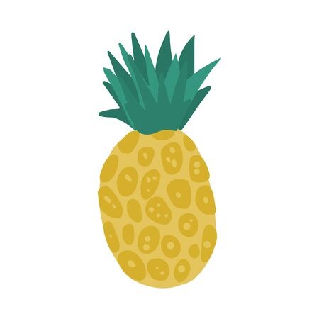 Pineapple in hand drawn style isolated on white background. Doodle fresh organic summer tropical fruit. Simple cute cartoon design. Vector illustration.