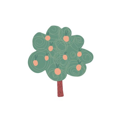 Fruit tree in hand drawn style isolated on white background. Cartoon apple tree. Doodle vector illustration