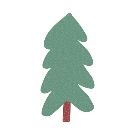 Christmas tree in doodle style isolated on white background. Hand drawn holiday fir symbol. Green conifer simple vector illustration Çizim