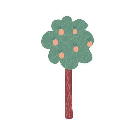 Doodle fruit tree isolated on white background. Cartoon apple tree. Hand drawn vector illustration 矢量图像