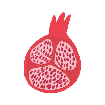 Doodle half red pomegranate isolated on white background. Hand drawn fresh organic summer fruit. Simple cute cartoon design. Vector sketch illustration.