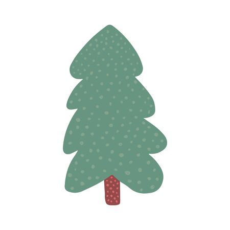 Doodle holiday fir symbol isolated on white background. Hand drawn christmas tree. Green conifer simple vector illustration