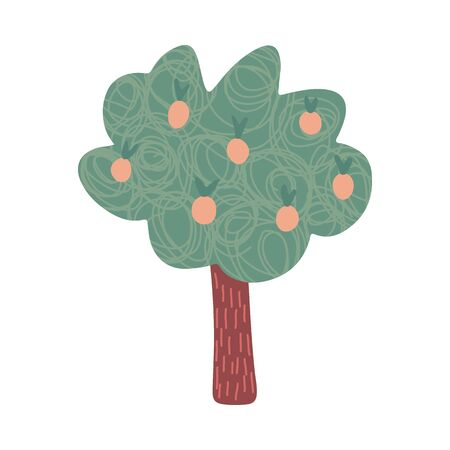 Fruit tree in doodle style isolated on white background. Hand drawn vector illustration