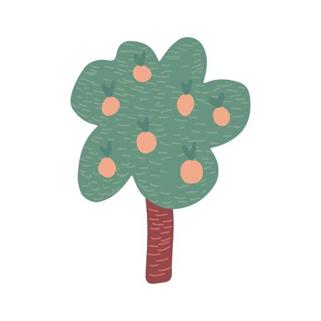 Hand drawn Fruit tree isolated on white background. Cartoon apple tree. Doodle vector illustration Banque d'images - 138468867