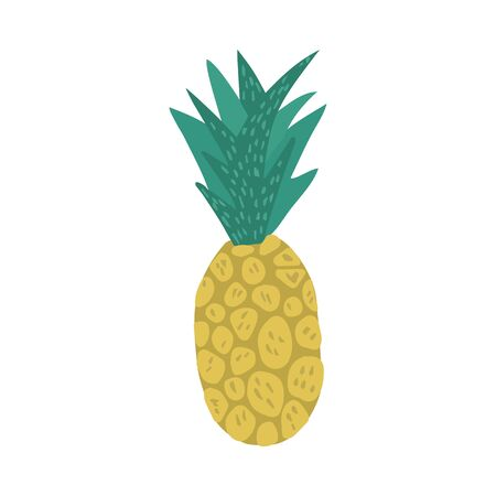 Pineapple in doodle style isolated on white background. Hand drawn fresh organic summer tropical fruit. Simple cute cartoon design. Vector illustration.