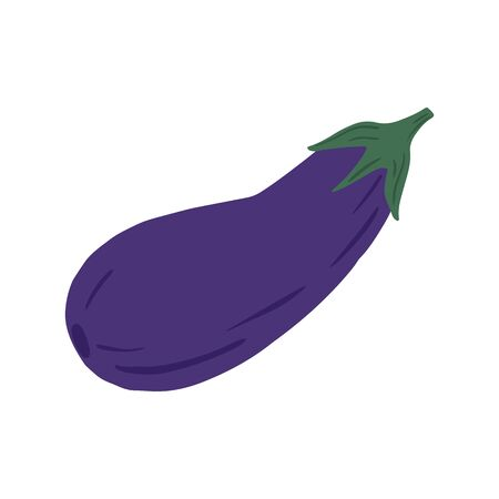 Eggplant in doodle style isolated on white background. Hand drawn aubergine vegetable. Fresh organic ingredient. Vegetarian healthy food. Vector illustration