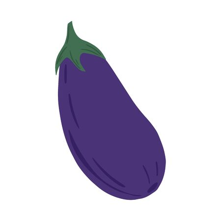 Eggplant in hand drawn style isolated on white background. Doodle aubergine vegetable. Fresh organic ingredient. Vegetarian healthy food. Vector illustration