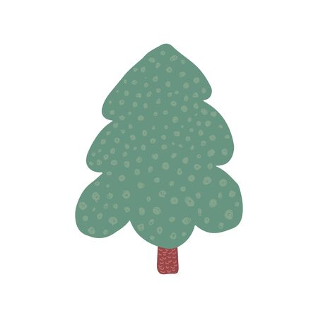 Doodle holiday fir symbol isolated. Hand drawn christmas tree. Green conifer simple vector illustration
