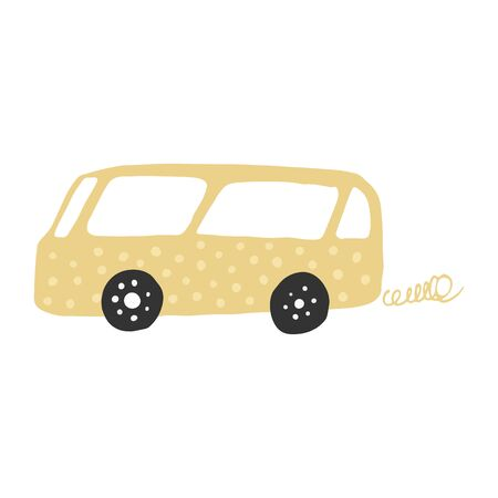 Little yellow bus in doodle style. Cute childrens bus. Automobile transportation. Vector illustration Çizim