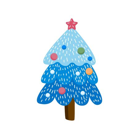 Hand drawn holiday fir in doodle style symbol. Cartoon tree in garlands isolated on white background. Green conifer simple vector illustration