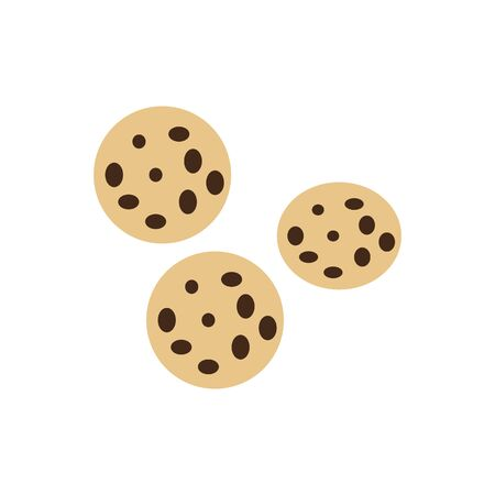 Cookies in flat style. Homemade biscuits isolated on white background. Sweet dessert. Vector illustration Çizim