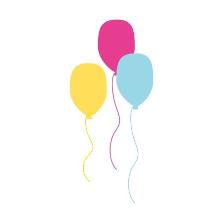 Colorful balloons in flat style isolated on white background. Happy birthday party. Anniversary holiday decoration. Vector illustration Çizim