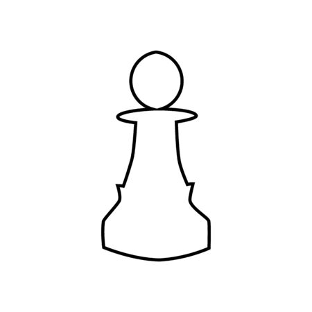 Chess pawn symbol isolated on white background in outline style. Strategy board game. Vector illustration Çizim