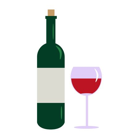 Bottle wine and glass isolated on white background. Wine bottle in flat style. Bar menu design. Vector illustration Çizim