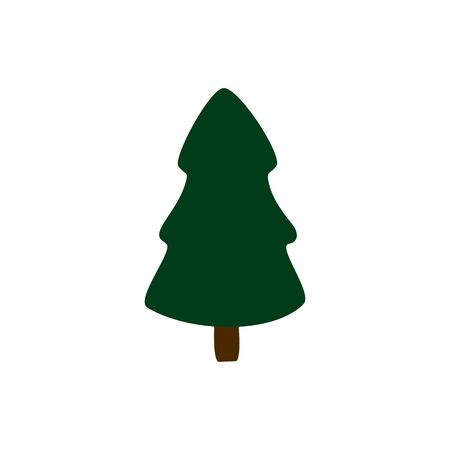 Simple fir in flat style symbol. Cartoon tree isolated on white background. Green conifer vector illustration Çizim