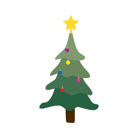 Cartoon Christmas tree in garlands isolated on white background. Hand drawn holiday fir in doodle style symbol. Green conifer simple vector illustration