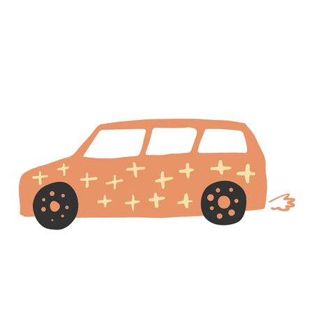Vagon car in doodle style. Cute children automobile transportation. Baby transport. Drawing sketch. Vector illustration 向量圖像