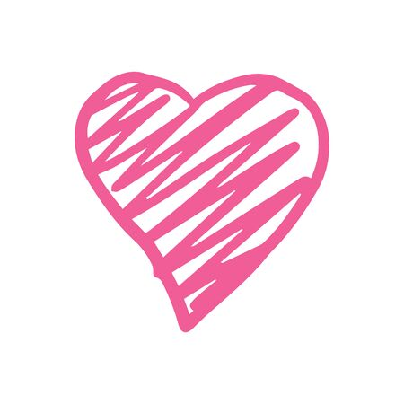 Pink heart love romantic icon. Heart shape in doodle style isolated on white background. Simple cute vector illustration