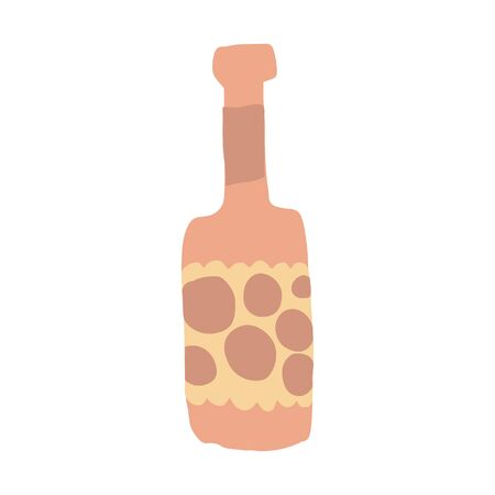 Funny alcohol bottle in doodle style. Freehand drawing. Cute glass bottle isolated on white background. Simple vector illustration