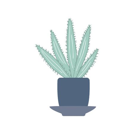 Houseplant aloe in doodle style. Cute prickly green cactus in pots. Cacti flower isolated on white background. Hand drawn floral vector illustration. 向量圖像