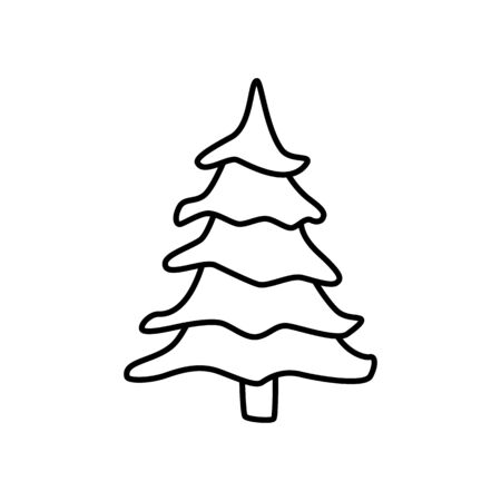Tree sign isolated on white background. Fir icon in outline style symbol. Simple vector illustration