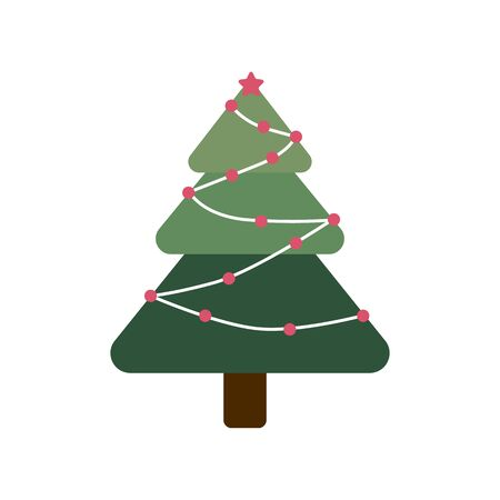 Hand drawn holiday fir in flat style symbol. Cartoon Christmas tree in garlands isolated on white background. Green conifer simple vector illustration