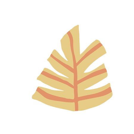 Leaves in doodle style. Yellow leaf isolated on white background. Simple vector illustration 向量圖像