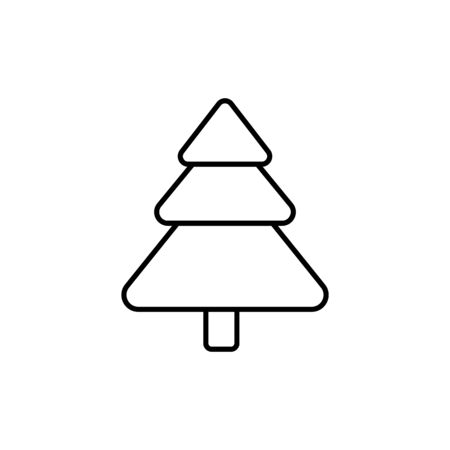 Fir icon in outline style symbol. Tree sign isolated on white background. Simple vector illustration Illustration