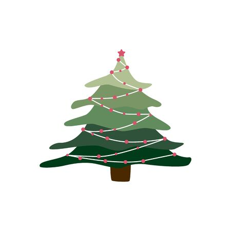 Hand drawn holiday fir in doodle style symbol. Cartoon Christmas tree in garlands isolated on white background. Green conifer simple vector illustration