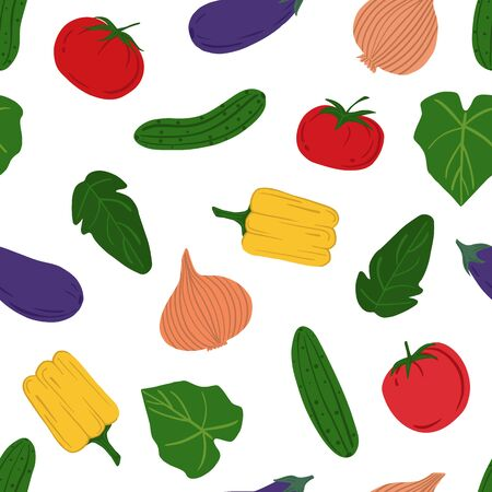 Hand drawn vegetables seamless pattern. Healthy food backdrop. Design for fabric, textile print, wrapping paper. Textile ornament. Vector illustration