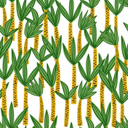 Palm seamless pattern in doodle style. Endless print texture. Cute exotic hawaiian background. Design for fabric, textile print, wrapping paper. Vector illustration