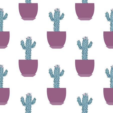 Seamless pattern with cactus in pot on white background. Design for fabric, textile print, wrapping paper. Textile ornament. Botanical vector illustration